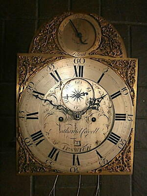 C1750 8 day   LONGCASE GRANDFATHER CLOCK DIAL+movement 12X16+1/4     Nathaniel C