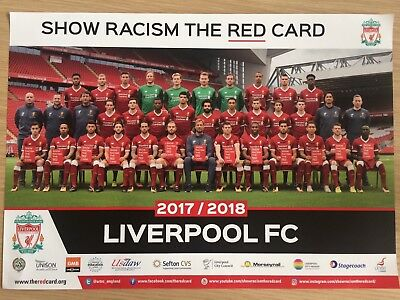 Liverpool Football Club LFC 2017 -18 season A3 poster Show Racism The Red Card