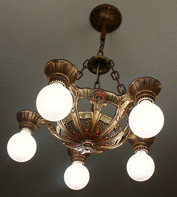 20's ANTIQUE VINTAGE LINCOLN Art Deco 5 LIGHT CEILING CHANDELIER~Set Available