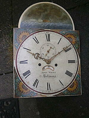 C1820 8 day LONGCASE GRANDFATHER CLOCK DIAL+movement 13X18     JAMES MAGILL OF B