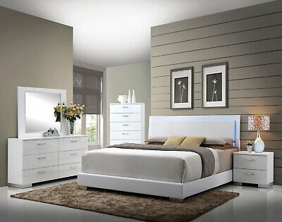 CONTEMPORARY GLOSSY WHITE Bedroom Furniture VOLGA 5pc King