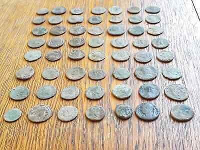 Beautiful Lot Of 56 Ancient Roman Bronze  Coins For Cleaning