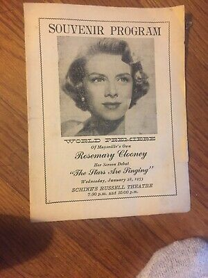 1-28-1953 Rosemary Clooney Souvenir Program Maysville Ky Kentucky
