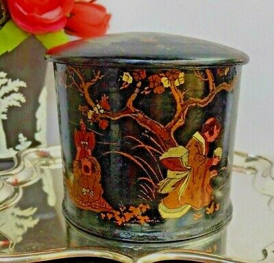 Antique Chinoiserie Chinese Black Paper Mache Box Caddy