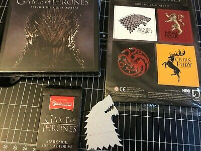 Loot Crate Game of Thrones GOT 4G Stark USB House Sigil Magnet Coaster Set NEW