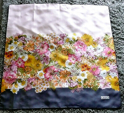 """Vintage 60s 70s Gucci Silk Scarf Stunning Floral with Shell Pink & Grey 34"""" Sq"""