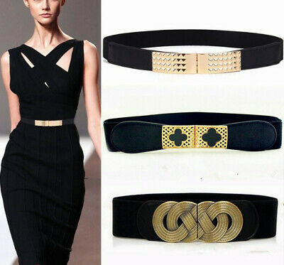 Lady Wide Fashion Belt Women Black Cinch Waist Belt Elastic Stretch UK Love Gift
