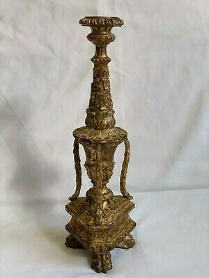 Outstanding 18th C. Carved Gilt Wood Pricket Candlestick French Louis XIV XV