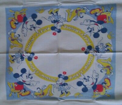 Vintage antique 1930's Disney Mickey mouse art deco tablecloth