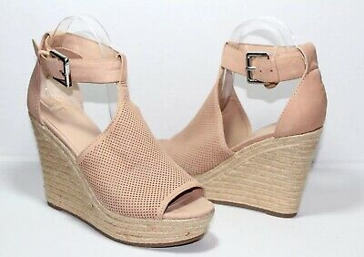 0694d39290a MARC FISHER ANNIE Perforated Espadrille Blush Wedge Sandals Size 7.5