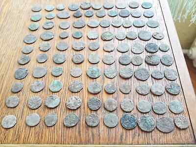 Lot Of 100 Ancient Roman Bronze  Coins For Cleaning