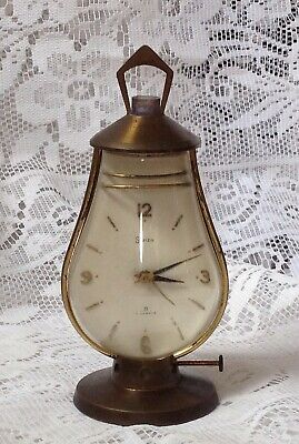Swiza Switzerland Brass Lantern Shape 8 Day Alarm Clock, C1950s, Working