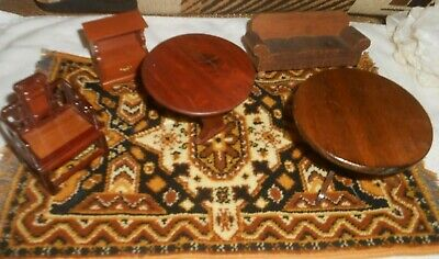Vintage Wood  Lot Of Dollhouse Furn  Wool Rug Antique Table Rare Items
