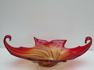 Large Red Flame Flambe Lava Murano Italian Lead Art Glass Feather Fruit Bowl