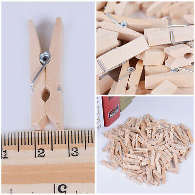 50x Natural Wooden Mini Pegs Craft Wood Colour Photo Hanging Spring Clips 35mm