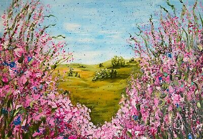 Aceo Art Print Of Painting, Landscape Wildflower Field, Pink Tranquility