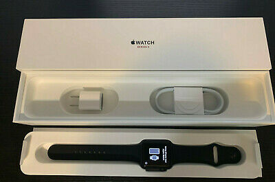 Apple Watch Series 3 42 mm Space Gray Aluminum w/ Black Sport Band -GPS+Cellular