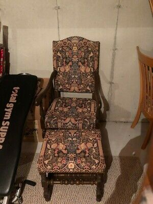 antique hand embroidered chair and footrest