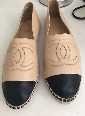 ce1da9cc0 CHANEL ESPADRILLES 39 Beige Black Tip Leather - $315.00 | PicClick