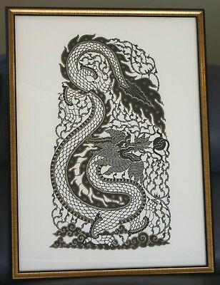 Vintage Thai Folk Art Buffalo Leather Carving. Dragon. Framed.