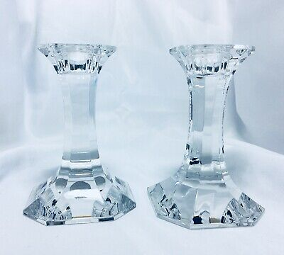"Pair of Dresden 24% Lead Crystal Candle Stick Holders Hand Cut Germany 4.5"" Tall"