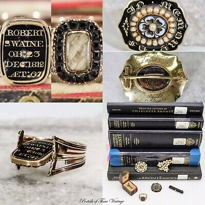 Antique Georgian Mourning Ring & 4 Victorian Brooches Swaine Family Collection