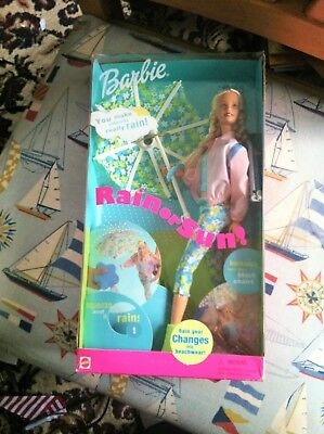 Barbie Rain or Sun! Doll with Rain Gear and Beach Wear by Mattel   WOW!