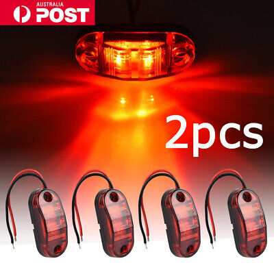 NEW 2pcs Cool Red LED Side Marker Clearance Lights Indicators Trailer Truck