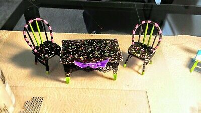Doll house table and chair set creation. Ooak Custom. Adorable!   BLINGing !!