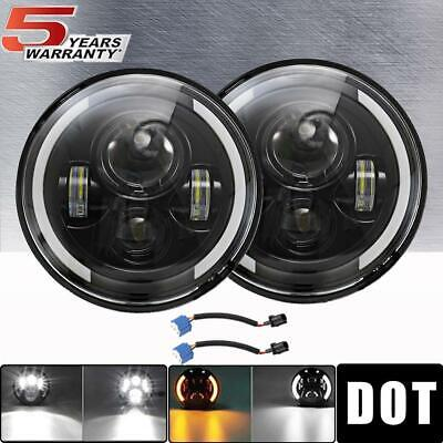 """DOT 7"""" inch Round LED Headlights Pair Halo DRL For Super Beetle Cabriolet Rabbit"""