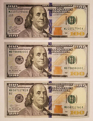 One Hundred Dollar Bill $100.00 (2009 & 2013 Series) Blue Ribbon Circulated