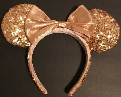 Disney Parks Minnie Mouse Ears Hat Headband ROSE GOLD Sequin