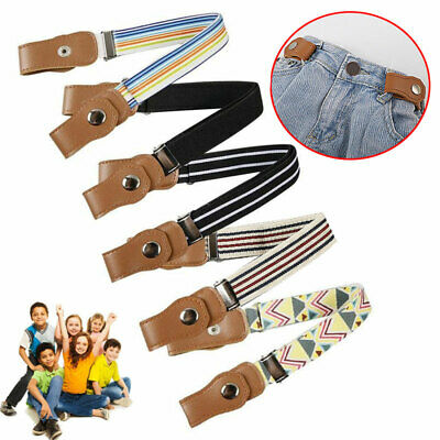 Unisex Children Kids Fabric Buckle Free Stretchy Elastic Waist Belt Waistband AU