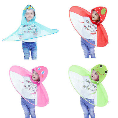 Toddler Baby Kids Children Girls Boys Hands Free Umbrella Raincoat Light Color