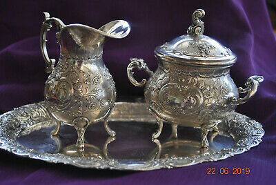 silver lot milk jug, sugar bowl and tray