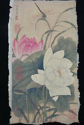 "Very Rare Old Large Chinese Hand Painting Lotus ""LangShiMing"" Marks"