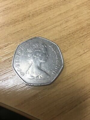 1969 50p coin, old large BRITANNIA fifty pence piece, 50 New Pence, Elizabeth II