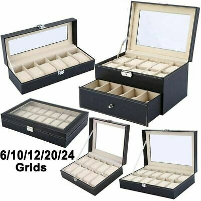 Large 12/20 Faux Leather Watch Case Display Box Storage Jewellery Gift Organiser