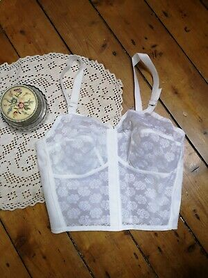Vintage 1960s Bra White Longline Bullet bra Pin Up nylon lacey sheer larger size