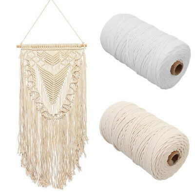 1roll Natural Beige Cotton Twisted Cord Rope Artisan Macrame String DIY Craft