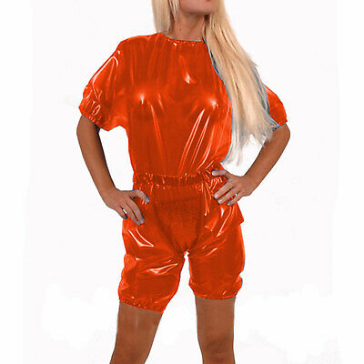 Latex Rubber Gummi Catsuit Kostüm Ganzanzug Sportuniform Suit Party Orange