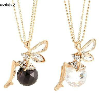 Fashion Women Crystal Fairy Angel Wing Pendant Long Chain Sweater Necklace Gift@