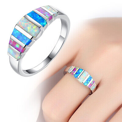 Rainbow Crystal Opal Plating Silver Ring Women Wedding Party Jewelry Size 6-10