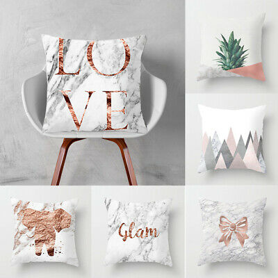 Soft Square Marble Pattern Cushion Cover Bed Pillowcase Home Decor Salable AU