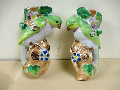 "Vintage Art Deco Pottery Wall Pocket Vase Parrot Bird Made In Japan 7.5"" Tall *F"