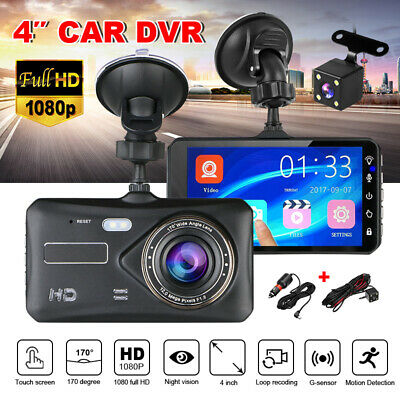 1080P Dual Lens 4.0''Touch FHD 170° Car DVR Reversing Camera Video Dash Recorder