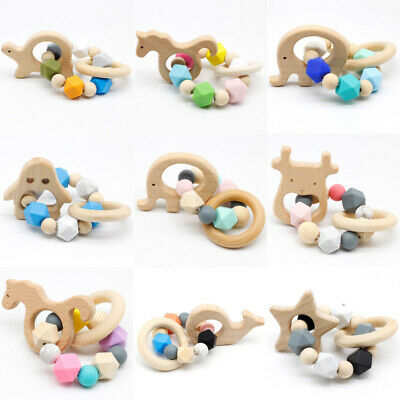 Baby Sensory Teething Rattles Teether Beech Animals Silicone Beads Bracelet Toys