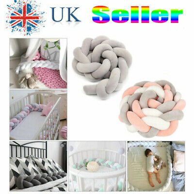 Baby Infant Plush Crib Bed Bedding Cot Braid Pillow Pad Protector 2M UK