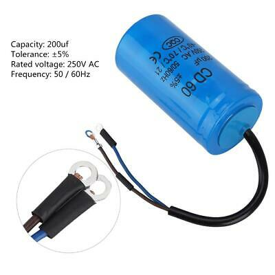 Run Capacitor with Wire Lead CD60 250V AC 200uF 50/60Hz for Motor Air Compressor