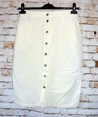 vintage 80s skirt Laura Biagiotti size 10 pencil knee length button front ivory